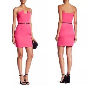 $375 Black Halo Lena Pink Mini Dress Size 4